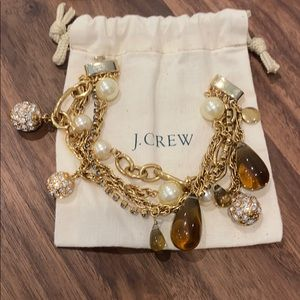 "J.Crew Gold tone,multi chain,bauble bracelet. 7.5"""